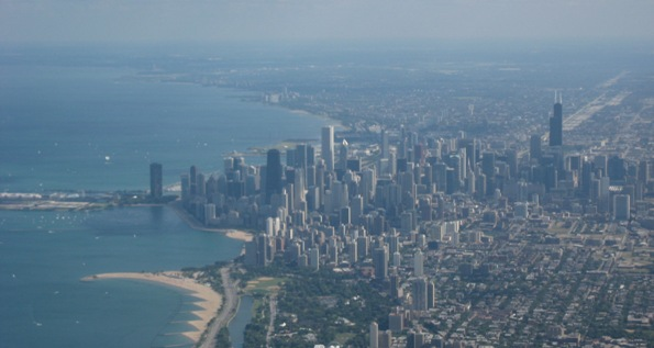 downtown Chicago seen from the air