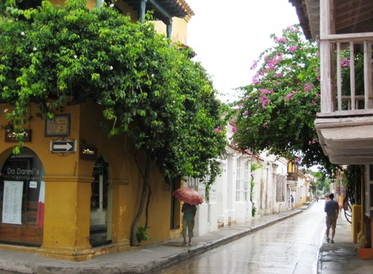narrow street w bougainvillea