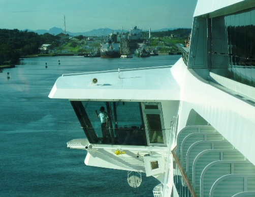 view of bridge wing looking forward, Deck 11