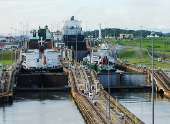 ships in 1st & 3rd chambers of Gatun Locks